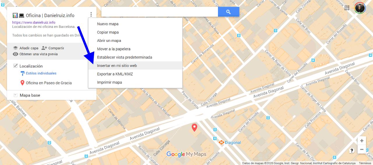 Inseertar mapa en mi sitio web