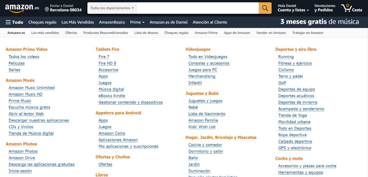 Amazon - Vista de todas las categorías