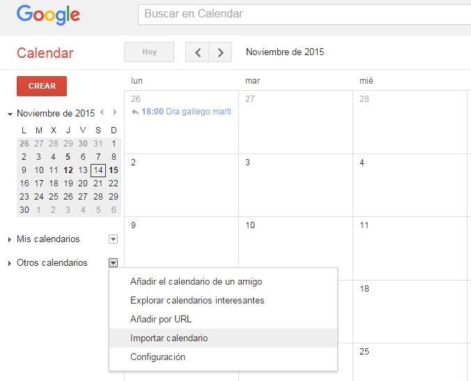 Altres calendaris - Google Calendar