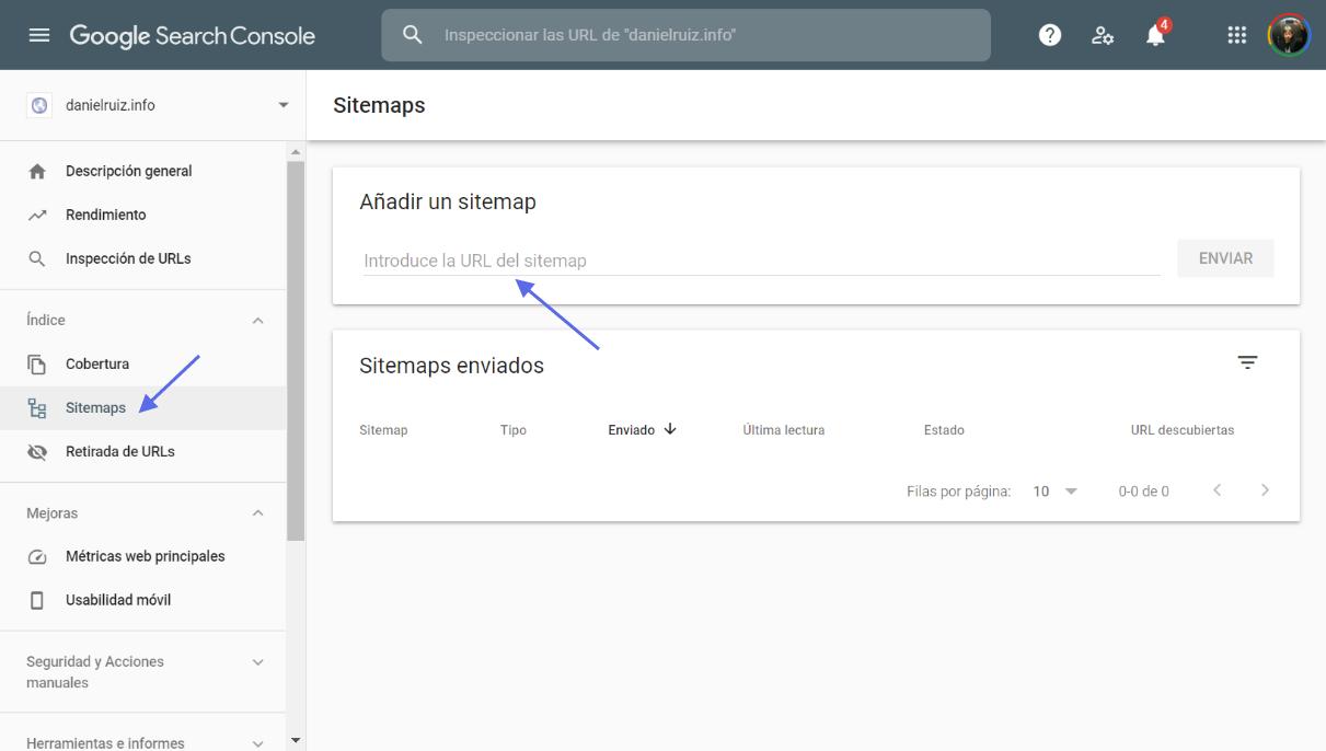 Añadir sitemap en Google